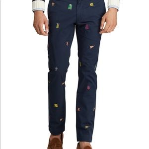 Polo embroidered slim fit stretch chinos NWT
